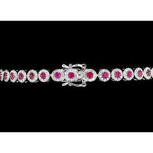 Diamond Tennis Bracelet 12 Carats Prong Set Pink S